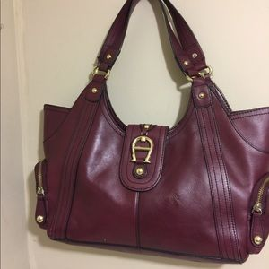 Etienne Aigner Burgundy Leather Bag